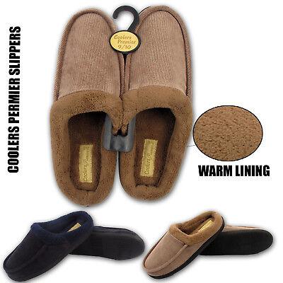 Para Hombre Refrigeradores mula Invierno Cálido Zapatillas Acanalado Piel Forrada de zapatos talla 7 8 9 10 11 12