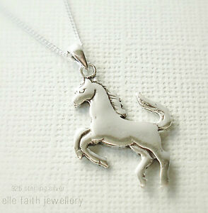 925 solid sterling silver horse pendant necklace with chain ebay image is loading 925 solid sterling silver horse pendant necklace with aloadofball Gallery