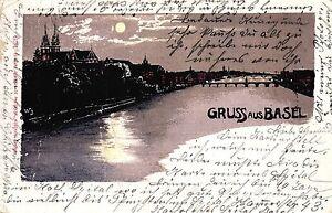 """Basel, """"Gruss aus Basel"""" bei Nacht, 1904 - Brachttal, Deutschland - Basel, """"Gruss aus Basel"""" bei Nacht, 1904 - Brachttal, Deutschland"""