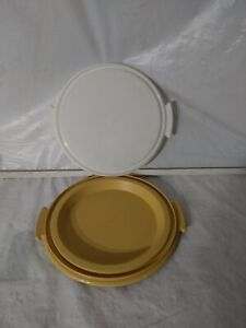 Vintage Tupperware 719-2 Pie Cake Carrier Gold & 684-2 white trays w Handle EUC