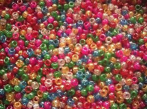 Glitter-Pony-Beads-Choice-100-500-Mixed-or-Single-colour-FOR-DUMMY-CLIPS-BRADING