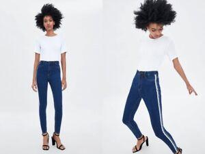 0b45cc97 NWT ZARA Navy Blue jeans High Rise Body Shaper Jeggings Side Stripe ...