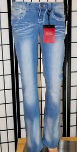 RED-RIVET-Women-039-s-Size-1-Embellished-Distressed-Flare-Stretch-Jeans-33-034-Inseam