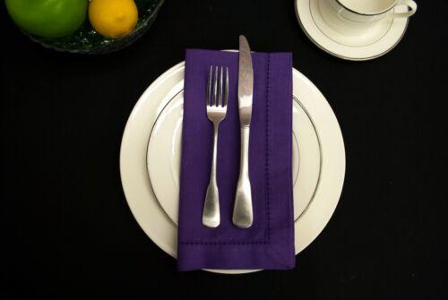 """Purple Hemstitch 20/""""x20/"""" Cotton Dinner Napkins 1 Dzn"""