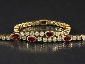 Wertvolles-Brillant-Rubin-Tennis-Armband-ca-3-70ct-15-7g-750-Gelbgold