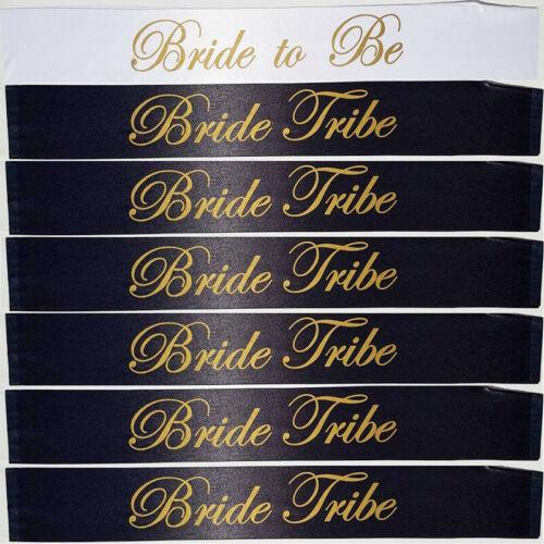 8 x Black White Gold Bride Tribe Ladies Hen Do Night Party Sashes Bulk Free P/&P