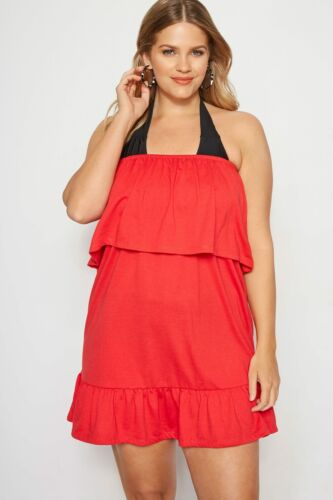 Yours Clothing Women/'s Plus Size Red Frill Bandeau Beach Dress