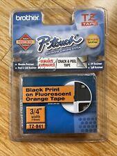 New Listingbrother Tz B41 P Touch Label Tape Black Print On Fluorescent Orange Tape