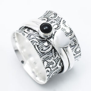 Black-Onyx-925-Sterling-Silver-Spinner-Ring-Meditation-statement-Ring-sr725