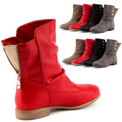 Neu Stiefeletten Damen Schlupf Boots Stiefel Leicht 53ALq4Rj