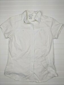 Columbia-Sportswear-White-Button-Up-Blouse-Top-Short-Sleeve-Women-s-Size-Med-B21