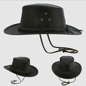 New Unisex Brown Cowboy Leather Australian Style Hat 5 Sizes