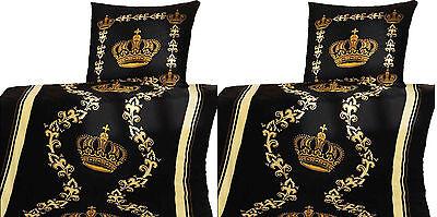 2x Bettwäschegarnituren 2tlg Microfaser Gold Kronen-DesignTop-Qualität Bettbezug