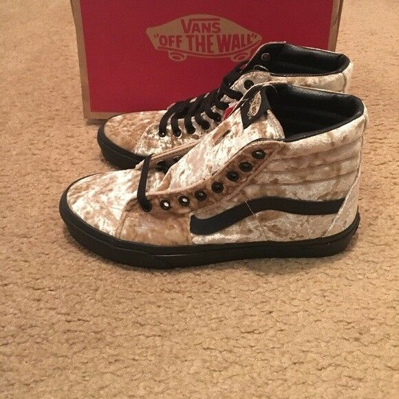 9fb3458d8ce165 VANS Sk8 Hi Velvet Tan black Womens Classic Skate Shoe Size W 9.5 M 8 for  sale online