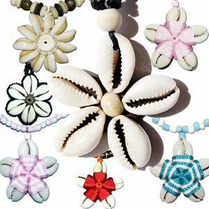 Seestern-Halskette-Modeschmuck-aus-Kauri-Muschel-Anhaenger-variables-Halsband