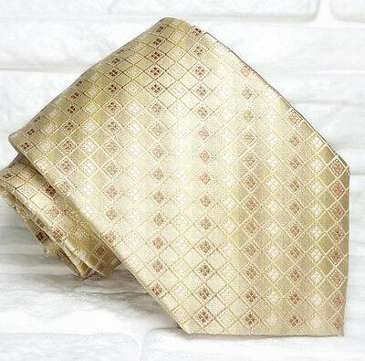 Cravatta Seta Beige Cuciture Rosse Retro Made In Italy Matrimoni / Business 9 Cm Un Rimedio Sovranazionale Indispensabile Per La Casa