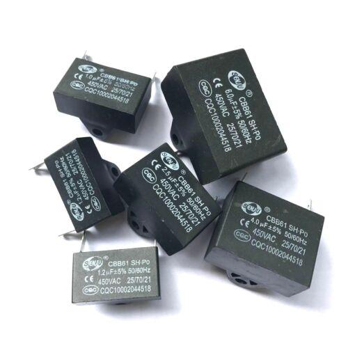 CBB61 450V 1//1.5//2.5//3//4//5//6//8//10//12 UF Air conditioner Fan Motor Capacitor 2PIN