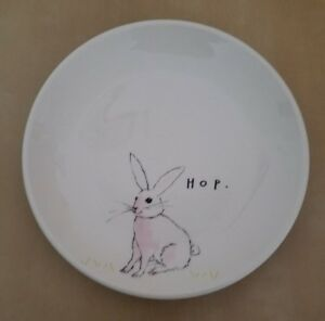 "(2) New Rae Dunn by Magenta  6"" Easter HOP Appetizer Side Plates Home Decor"