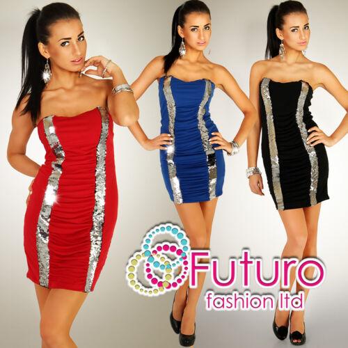 Womens Stunning Elegant Dress Sequins Open Shoulder Bodycon Tunic Size 8-12 T23