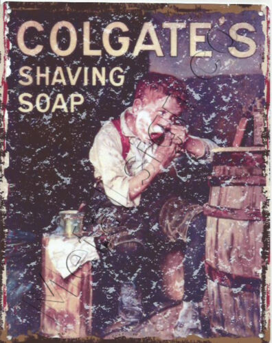 COLGATE SHAVING SOAP BATHROOM  METAL WALL SIGN RETRO STYLE 12x16in 30X40cm