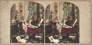 Scena Da Genere Morning Call UK Foto Stereo Vintage Albumina Colorata c1860