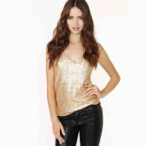 Women-039-s-Shiny-Sequins-Vest-Solid-Color-Casual-Top-Camisole-Casual-Shirt-Blouse
