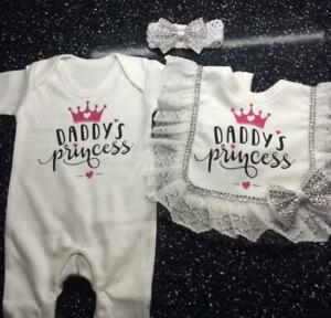 Personalised Baby Grows Romany Baby Gift Bling Boys Bling Matching Set Bib Hat