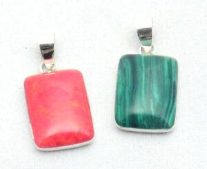 Rechteckiger Koralle Rot + Malachit Grün Anhänger Sterling Silber Naturschmuck