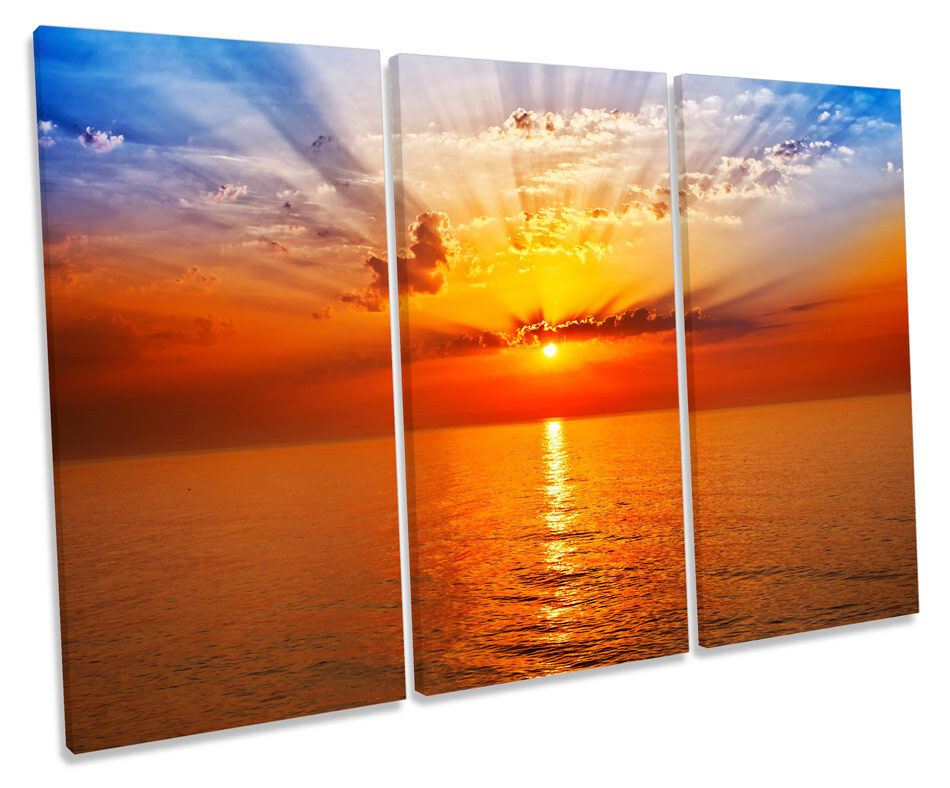 Orange Sunset Seascape CANVAS WALL ART TREBLE Box Frame Print