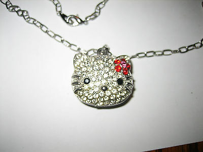 OLD Puffy Red Clear Rhinestone Crystal Flower Hello Kitty Pendant Necklace