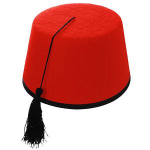 Excelente calidad clásico nueva temporada Detalles de Rojo Adulto Sofisticado Vestido Fez Borla Sombrero (turco//  Tommy Cooper Marroquí Estilo)- ver título original