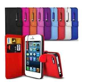 Pour-Iphone-5-5S-5G-Etui-Housse-Portefeuille-Cuir-PU-un-Stylet-Film