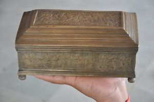 Old-Brass-Handcrafted-Floral-Inlay-Engraved-4-Compartment-Betel-Nut-Box