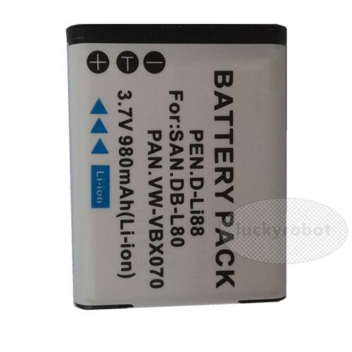2 DB-L80 Batería//Cargador para SANYO Xacti VPC-CG10 VPC-CG102 VPC-CG20 VPC-CS1