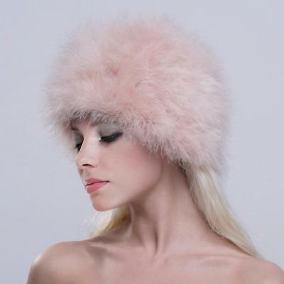 bb1764eb9d3 Womens Cossack Russian Real Genuine Ostrich Fur Winter Hat Cap Ladies Warmer