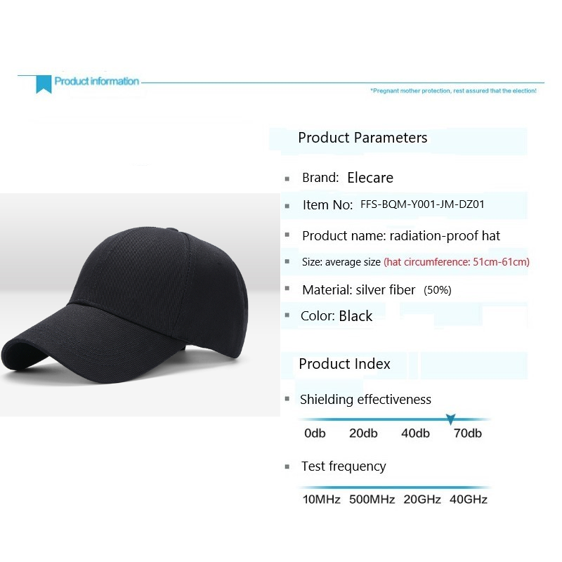 Silver Fiber Anti Radiation Cap EMF Protection Hat Cell WIFI 5G Shielding 99.99%