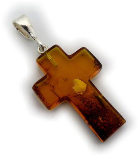 Colgante real Bernstein marrón cruz en plata 925 naturaleza Bernstein Amber calidad