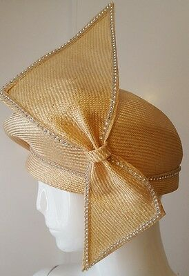 Auth., Vintage, Jack McConnell Boutique - Beige Straw Hat w/Crystal Trim Bow (M)