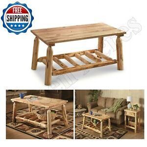 Log Coffee Table Wood Rustic Cabin Modern Natural Pine
