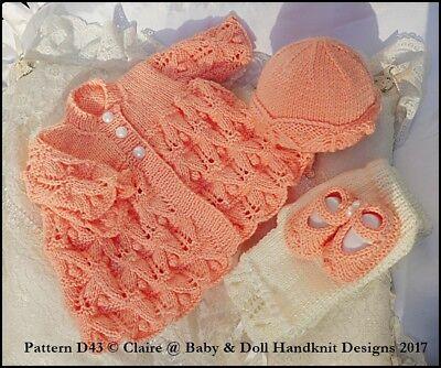 BABYDOLL HANDKNIT DESIGNS KNITTING PATTERN BLANKET /& CARDI SET PREM-3M BABY