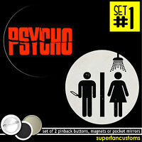 Psycho Set Of 2 Buttons Or Magnets Or Mirrors Alfred Hitchcock Bates Motel 1079