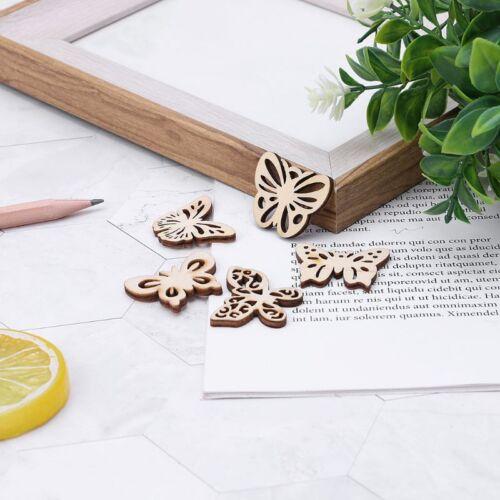 50pcs Laser Cut Wood Butterfly Embellishment Wooden Shape Craft Wedding Decors