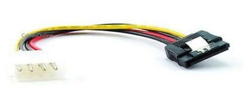 6in 15-Pin SATA Power to 4-Pin Molex Internal Power Cable w// Metal Latch PC-014L