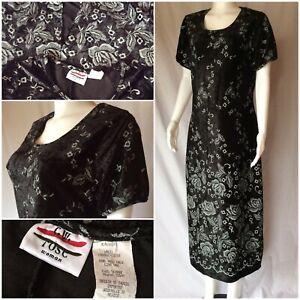 6b77ada6a76 Details about Vintage 90 s Plus Size 16 Printed Crushed Black Velvet Maxi  Dress roses   a slit