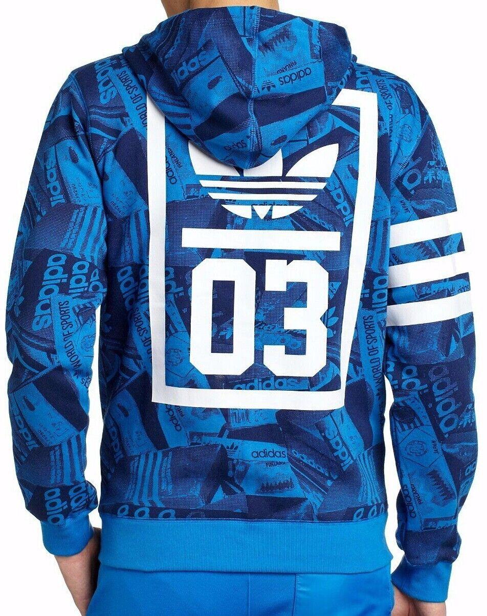 Adidas Originals Logo Zip Hoodie Track Top Vivid Blau Jacke