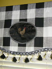 Custom VALANCE French Country Rooster Black White Buffalo Check Tassel Trim NEW