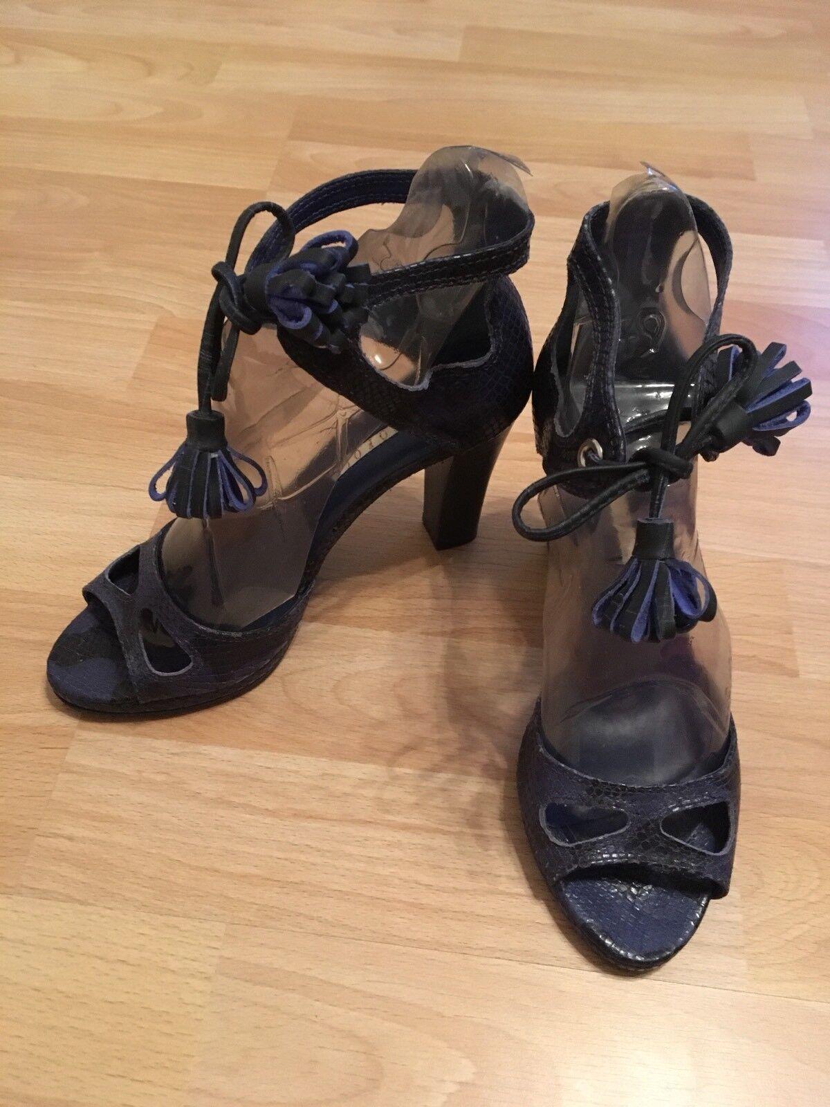 Sandaleetten mit Reptilprägung Leder Blau Gr. 37 / 4 zum schnüren