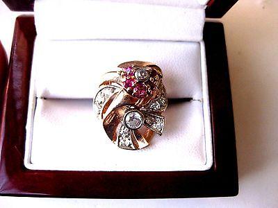 """""""RETRO"""" ESTATE  14K ROSE GOLD/PLATINUM RING:DIAMONDS & RUBIES,1940's"""