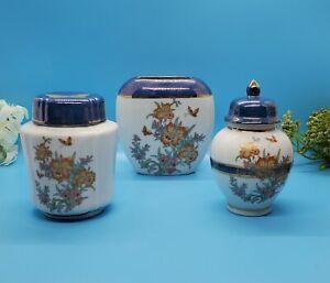 3 Pcs Ginger Jar, Vase, Canister Made In Japan Blue & White Floral Butterflies