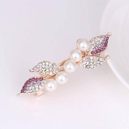 Fashion Women Crystal Pearl Flower Barrette Hair Clip Clamp Hairpin HS3